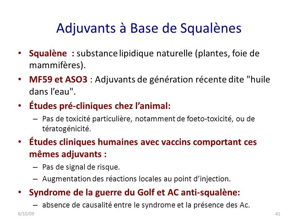 Adjuvants à Base de Squalènes Squalène : substance lipidique naturelle (plantes, foie de mammifères).