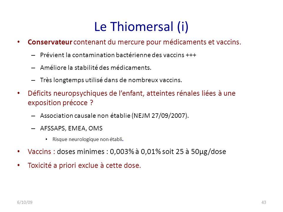 Le Thiomersal (i) Conservateur contenant du mercure pour médicaments et vaccins.
