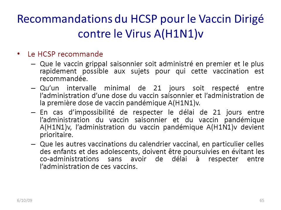 Recommandations du HCSP pour le Vaccin Dirigé contre le Virus A(H1N1)v Le HCSP recommande – Que le vaccin grippal saisonnier soit administré en premier et le plus rapidement possible aux sujets pour qui cette vaccination est recommandée.
