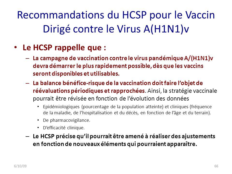 Recommandations du HCSP pour le Vaccin Dirigé contre le Virus A(H1N1)v Le HCSP rappelle que : – La campagne de vaccination contre le virus pandémique A/(H1N1)v devra démarrer le plus rapidement possible, dès que les vaccins seront disponibles et utilisables.