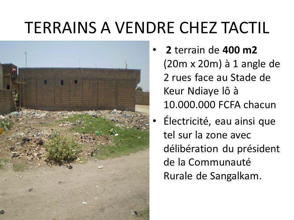TERRAINS A VENDRE CHEZ TACTIL 2 terrain de 400 m2 (20m x 20m) à 1 angle de 2 rues face au Stade de Keur Ndiaye lô à 10.000.000 FCFA chacun Électricité