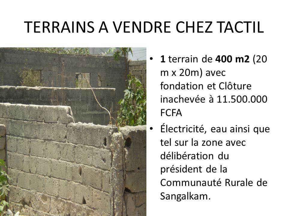TERRAINS A VENDRE CHEZ TACTIL 1 terrain de 400 m2 (20 m x 20m) avec fondation et Clôture inachevée à 11.500.000 FCFA Électricité, eau ainsi que tel su