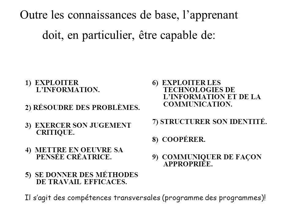 Outre les connaissances de base, lapprenant doit, en particulier, être capable de: 1) EXPLOITER LINFORMATION. 2) RÉSOUDRE DES PROBLÈMES. 3) EXERCER SO