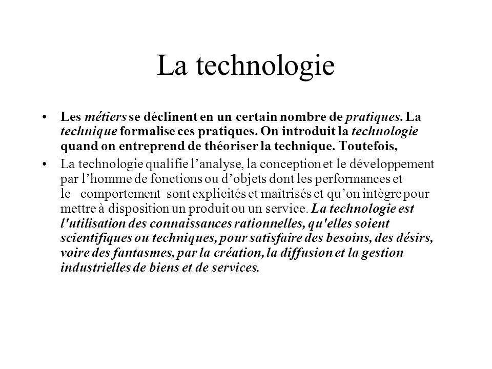 La technologie Les métiers se déclinent en un certain nombre de pratiques. La technique formalise ces pratiques. On introduit la technologie quand on