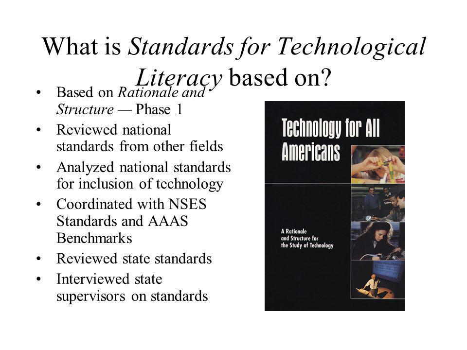 What is Standards for Technological Literacy based on? Based on Rationale and Structure Phase 1 Reviewed national standards from other fields Analyzed