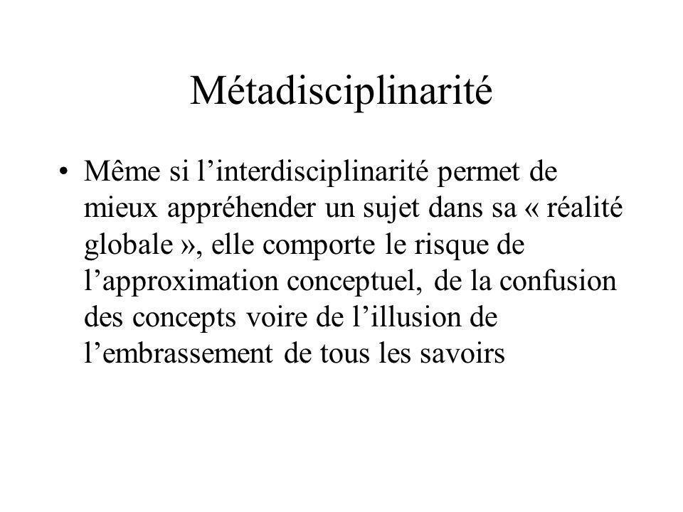 Métadisciplinarité Même si linterdisciplinarité permet de mieux appréhender un sujet dans sa « réalité globale », elle comporte le risque de lapproxim