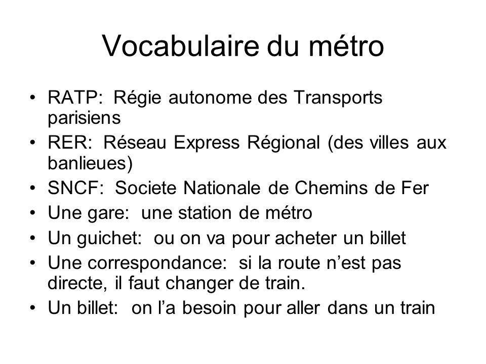 Vocabulaire du métro RATP: Régie autonome des Transports parisiens RER: Réseau Express Régional (des villes aux banlieues) SNCF: Societe Nationale de
