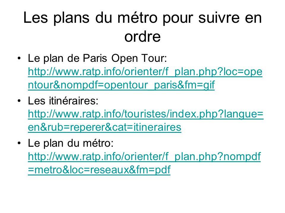 Les plans du métro pour suivre en ordre Le plan de Paris Open Tour: http://www.ratp.info/orienter/f_plan.php?loc=ope ntour&nompdf=opentour_paris&fm=gi