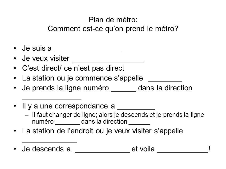 Plan de métro: Comment est-ce quon prend le métro? Je suis a ________________ Je veux visiter _________________ Cest direct/ ce nest pas direct La sta