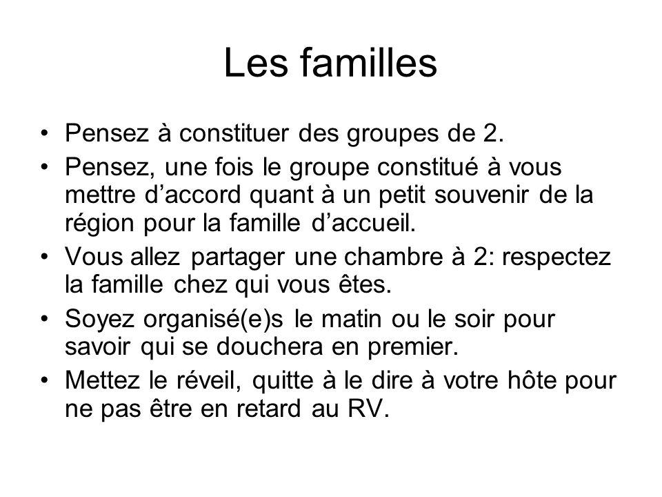 Les familles Pensez à constituer des groupes de 2. Pensez, une fois le groupe constitué à vous mettre daccord quant à un petit souvenir de la région p