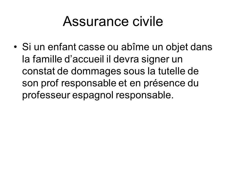 Assurance civile Si un enfant casse ou abîme un objet dans la famille daccueil il devra signer un constat de dommages sous la tutelle de son prof resp