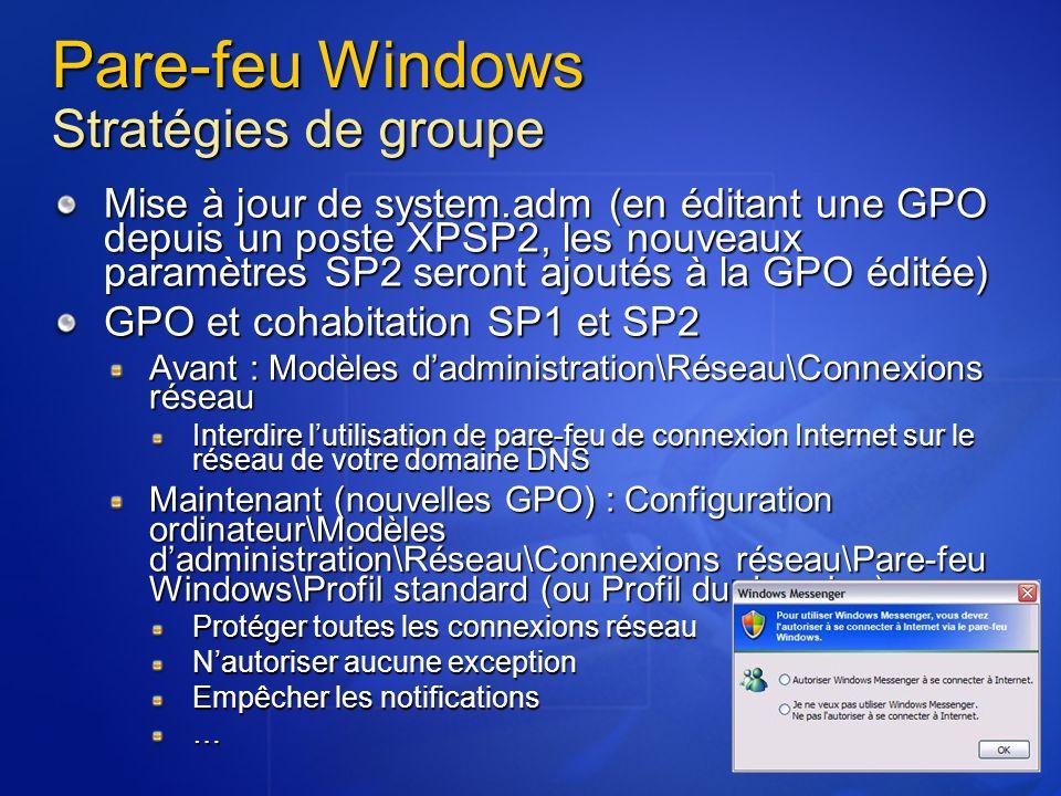 Pare-feu Windows Stratégies de groupe Mise à jour de system.adm (en éditant une GPO depuis un poste XPSP2, les nouveaux paramètres SP2 seront ajoutés à la GPO éditée) GPO et cohabitation SP1 et SP2 Avant : Modèles dadministration\Réseau\Connexions réseau Interdire lutilisation de pare-feu de connexion Internet sur le réseau de votre domaine DNS Maintenant (nouvelles GPO) : Configuration ordinateur\Modèles dadministration\Réseau\Connexions réseau\Pare-feu Windows\Profil standard (ou Profil du domaine) Protéger toutes les connexions réseau Nautoriser aucune exception Empêcher les notifications …