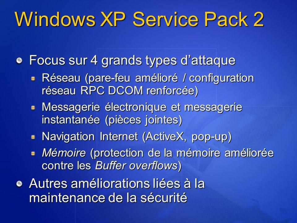 Déploiement du pare-feu sans les stratégies de groupe Netfw.inf à linstallation http://www.microsoft.com/downloads/details.as px?familyid=cb307a1d-2f97-4e63-a581- bf25685b4c43&displaylang=en http://www.microsoft.com/downloads/details.as px?familyid=cb307a1d-2f97-4e63-a581- bf25685b4c43&displaylang=en%windir%\Inf\Netfw.inf netsh firewall reset Script netsh après linstallation netsh firewall set portopening UDP 1434 Slammer