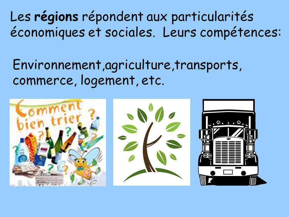 Les régions répondent aux particularités économiques et sociales. Leurs compétences: Environnement,agriculture,transports, commerce, logement, etc.