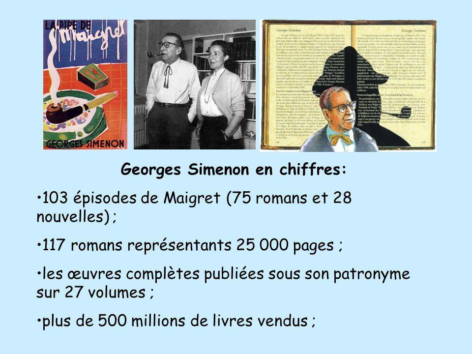 Georges Simenon en chiffres: 103 épisodes de Maigret (75 romans et 28 nouvelles) ; 117 romans représentants 25 000 pages ; les œuvres complètes publié