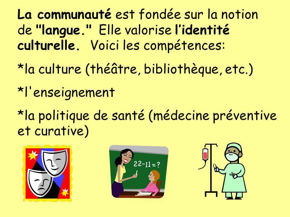 *la culture (théâtre, bibliothèque, etc.) *l'enseignement *la politique de santé (médecine préventive et curative) La communauté est fondée sur la not