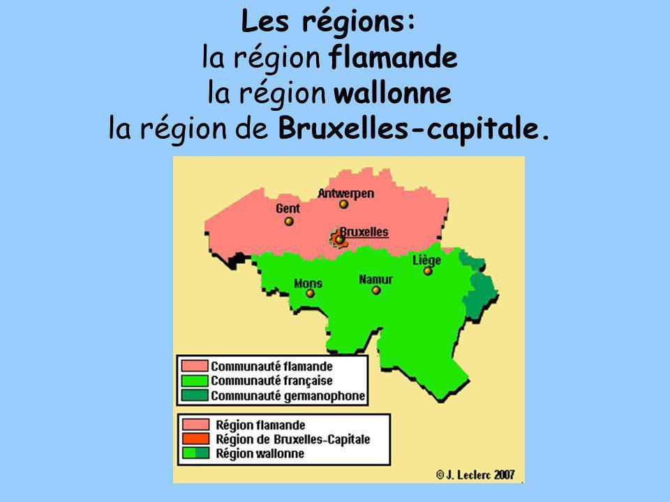 Les régions: la région flamande la région wallonne la région de Bruxelles-capitale.
