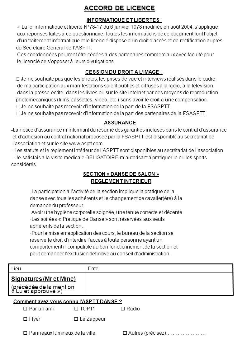 Signatures (Mr et Mme) (précédée de la mention « Lu et approuvé ») DateLieu SECTION « DANSE DE SALON » REGLEMENT INTERIEUR -La participation à lactivi