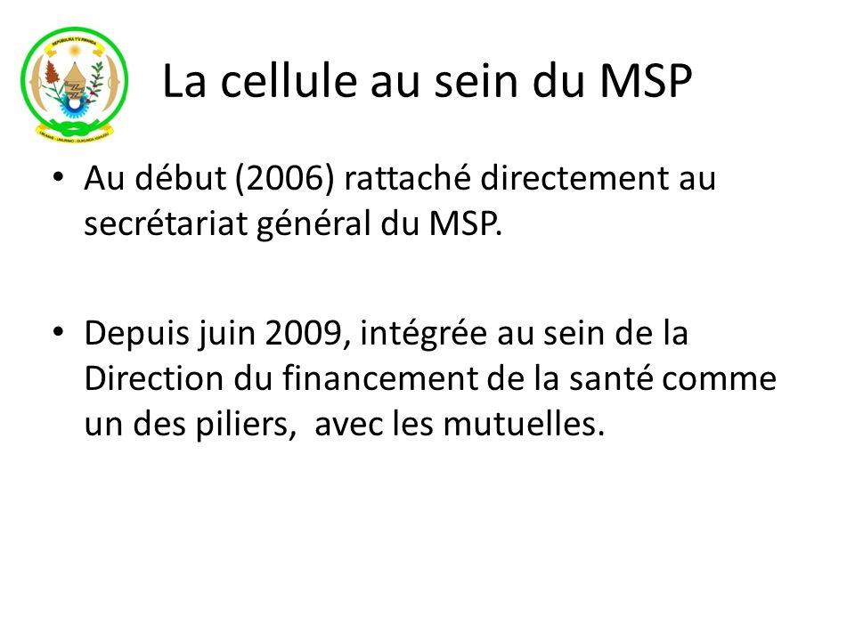 La cellule au sein du MSP Au début (2006) rattaché directement au secrétariat général du MSP. Depuis juin 2009, intégrée au sein de la Direction du fi