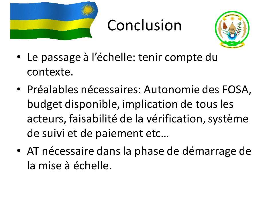 Conclusion Le passage à léchelle: tenir compte du contexte. Préalables nécessaires: Autonomie des FOSA, budget disponible, implication de tous les act