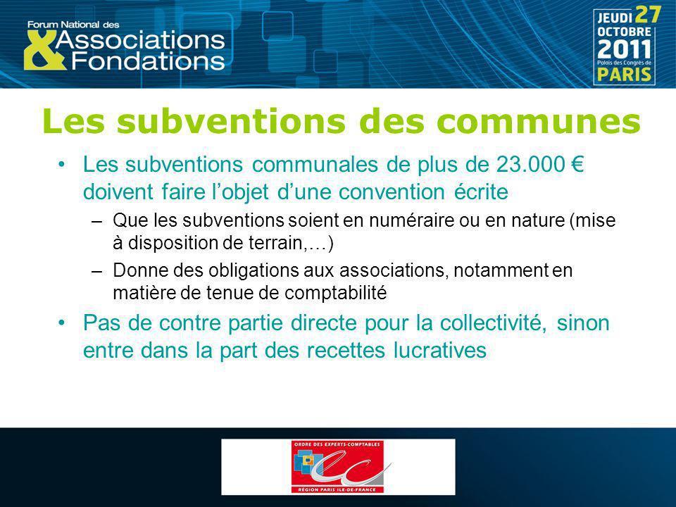 Les subventions des communes Les subventions communales de plus de 23.000 doivent faire lobjet dune convention écrite –Que les subventions soient en n