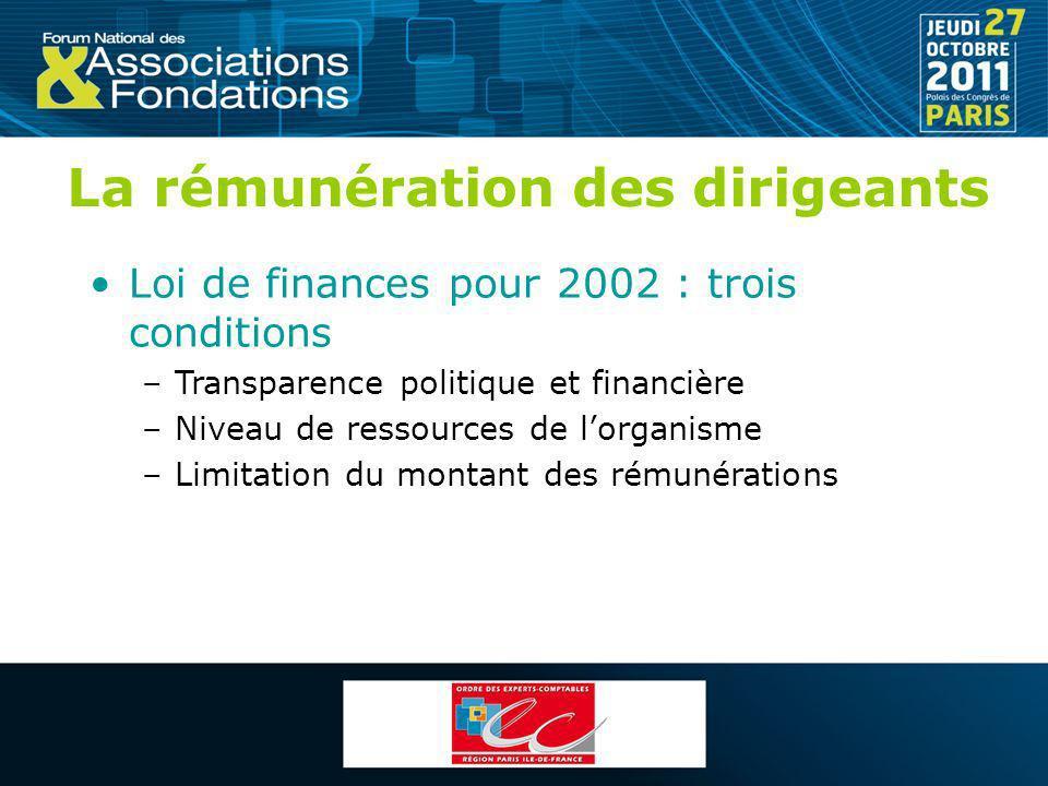 La rémunération des dirigeants Loi de finances pour 2002 : trois conditions –Transparence politique et financière –Niveau de ressources de lorganisme
