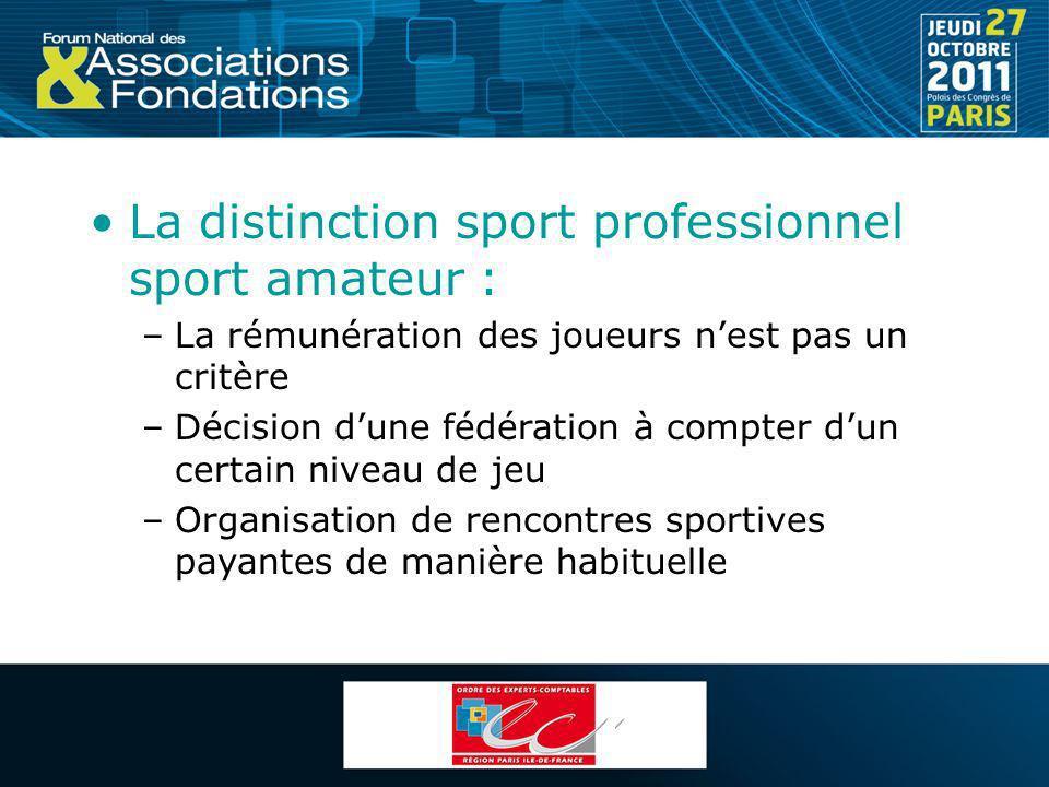 La distinction sport professionnel sport amateur : –La rémunération des joueurs nest pas un critère –Décision dune fédération à compter dun certain ni