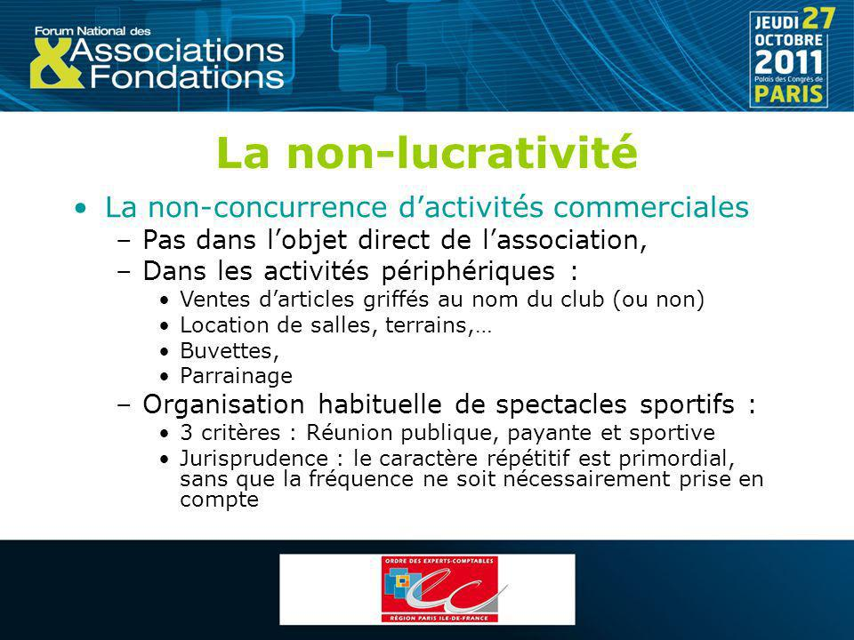 La non-lucrativité La non-concurrence dactivités commerciales –Pas dans lobjet direct de lassociation, –Dans les activités périphériques : Ventes dart