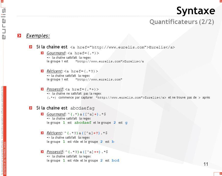 11 Syntaxe Exemples: Si la chaîne est Eurelis Gourmand: => la chaîne satisfait la regex le groupe 1 est