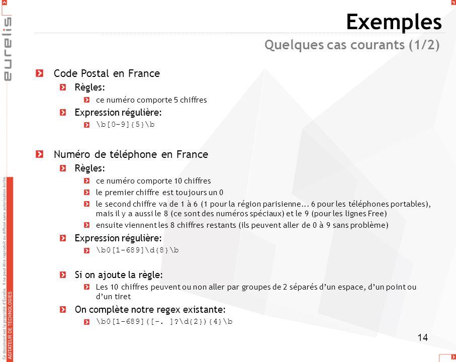 14 Exemples Code Postal en France Règles: ce numéro comporte 5 chiffres Expression régulière: \b[0-9]{5}\b Numéro de téléphone en France Règles: ce nu
