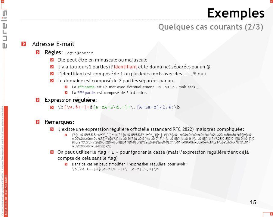 15 Exemples Adresse E-mail Règles: login@domain Elle peut être en minuscule ou majuscule Il y a toujours 2 parties (lidentifiant et le domaine) séparé
