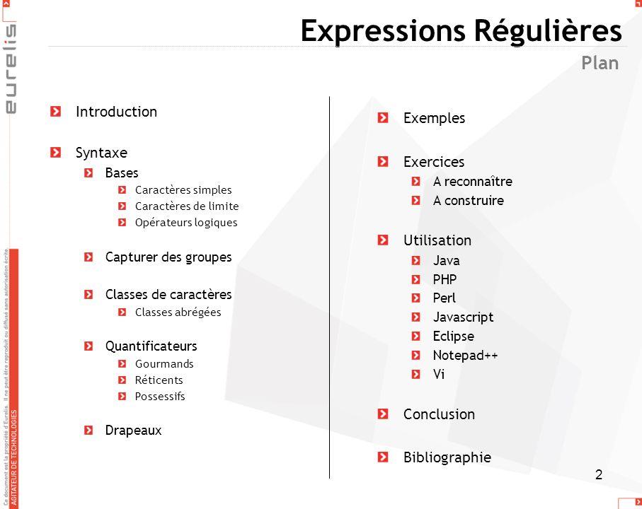 2 Expressions Régulières Introduction Syntaxe Bases Caractères simples Caractères de limite Opérateurs logiques Capturer des groupes Classes de caract