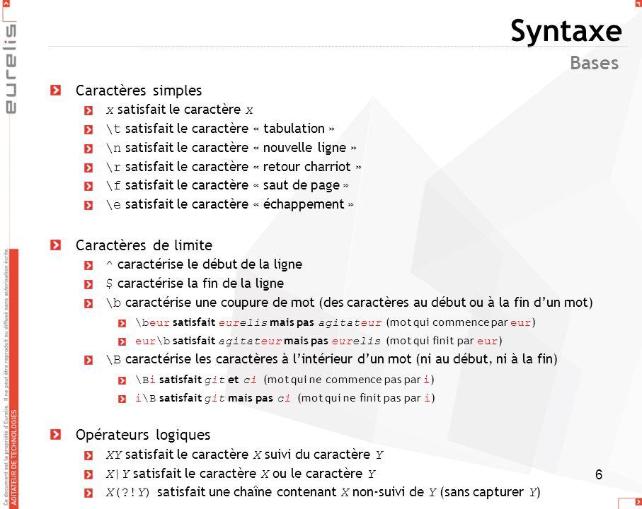 7 Syntaxe Un groupe permet de définir un sous-motif dans une expression régulière capturer le caractère X : (X) récupérer le n ième groupe capturé en référence arrière (dans la regex): \n en substitution (hors de la regex): $n Références arrières \n correspond au n ième groupe capturé précédemment Exemple: text satisfait text et text ne satisfait ni text ni text Toujours suivre lordre des parenthèses Exemple: (anti)((con)sti(tu)tion)n(elle(ment)) Le groupe 0 contient anticonstitutionnellement Le groupe 1 contient anti Le groupe 2 contient constitution Le groupe 3 contient con Le groupe 4 contient tu Le groupe 5 contient ellement Le groupe 6 contient ment Capturer des groupes Remarques Les quantificateurs nous obligent souvent à entourer de parenthèses et donc créer des groupes capturant pour signifier quil sapplique à un sous-motif: pour ne pas créer un groupe capturant, il faut écrire: (?:XY) Utiliser des groupes non-capturant est plus rapide Si à un sous-motif est capturé plusieurs fois, la valeur du groupe sera le dernier sous- motif