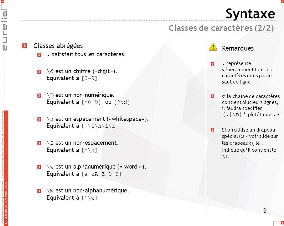 9 Syntaxe Classes abrégées. satisfait tous les caractères \d est un chiffre («digit»). Equivalent à [0-9] \D est un non-numérique. Equivalent à [^0-9]