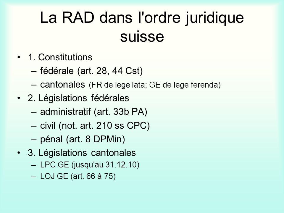 La RAD dans l'ordre juridique suisse 1. Constitutions –fédérale (art. 28, 44 Cst) –cantonales (FR de lege lata; GE de lege ferenda) 2. Législations fé