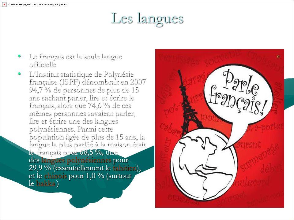 Les langues Le français est la seule langue officielleLe français est la seule langue officielle L Institut statistique de Polynésie française (ISPF) dénombrait en 2007 94,7 % de personnes de plus de 15 ans sachant parler, lire et écrire le français, alors que 74,6 % de ces mêmes personnes savaient parler, lire et écrire une des langues polynésiennes.