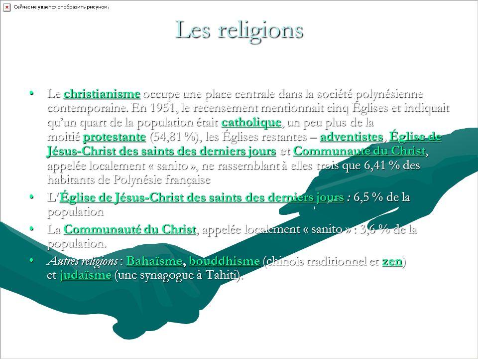 Les religions Le christianisme occupe une place centrale dans la société polynésienne contemporaine.