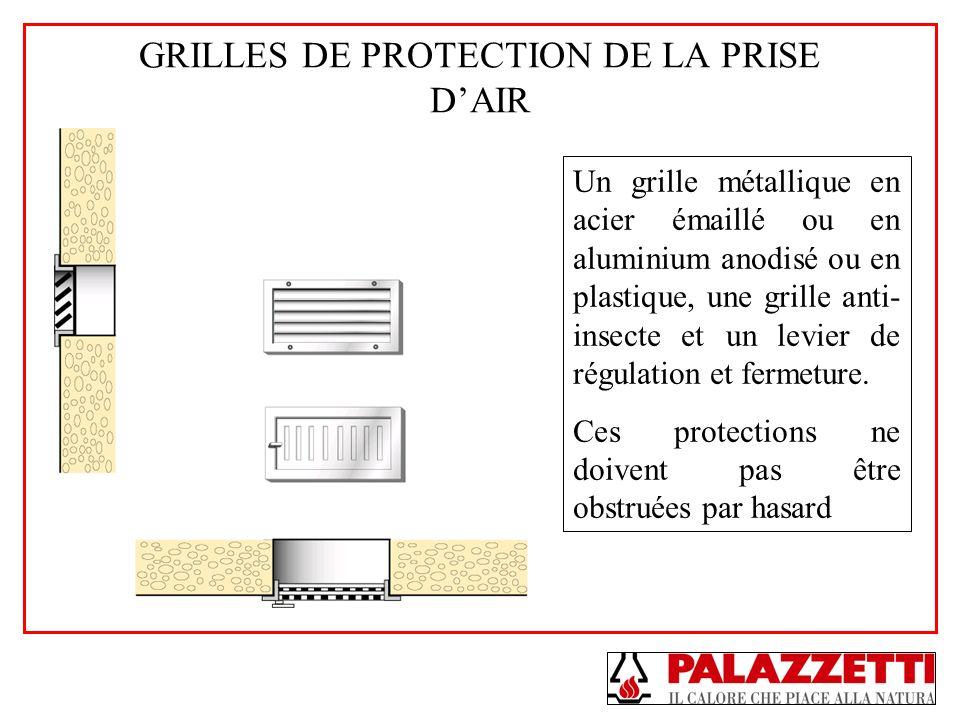 GRILLES DE PROTECTION DE LA PRISE DAIR Un grille métallique en acier émaillé ou en aluminium anodisé ou en plastique, une grille anti- insecte et un l