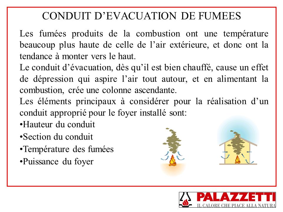 CONDUIT DEVACUATION DE FUMEES Les fumées produits de la combustion ont une température beaucoup plus haute de celle de lair extérieure, et donc ont la