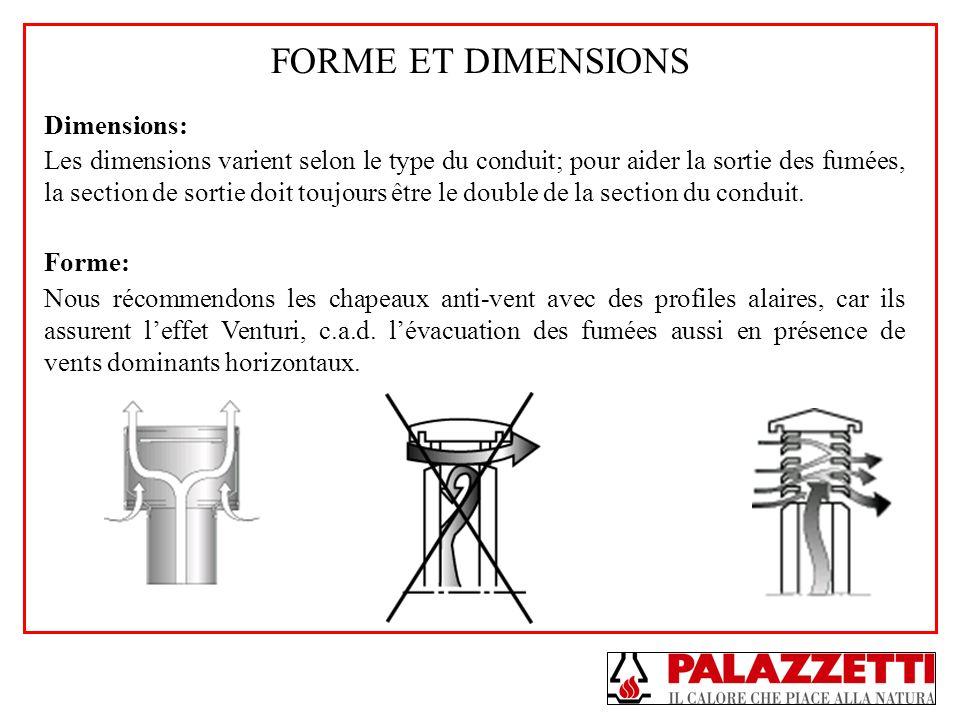 FORME ET DIMENSIONS Dimensions: Les dimensions varient selon le type du conduit; pour aider la sortie des fumées, la section de sortie doit toujours ê
