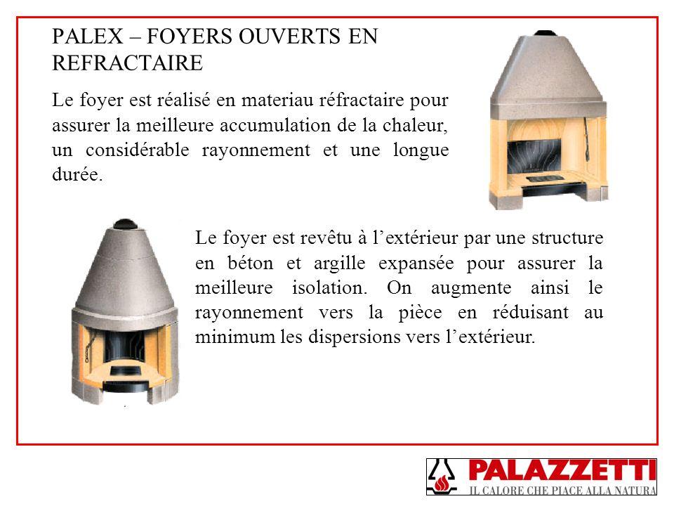 PALEX – FOYERS OUVERTS EN REFRACTAIRE Le foyer est réalisé en materiau réfractaire pour assurer la meilleure accumulation de la chaleur, un considérab