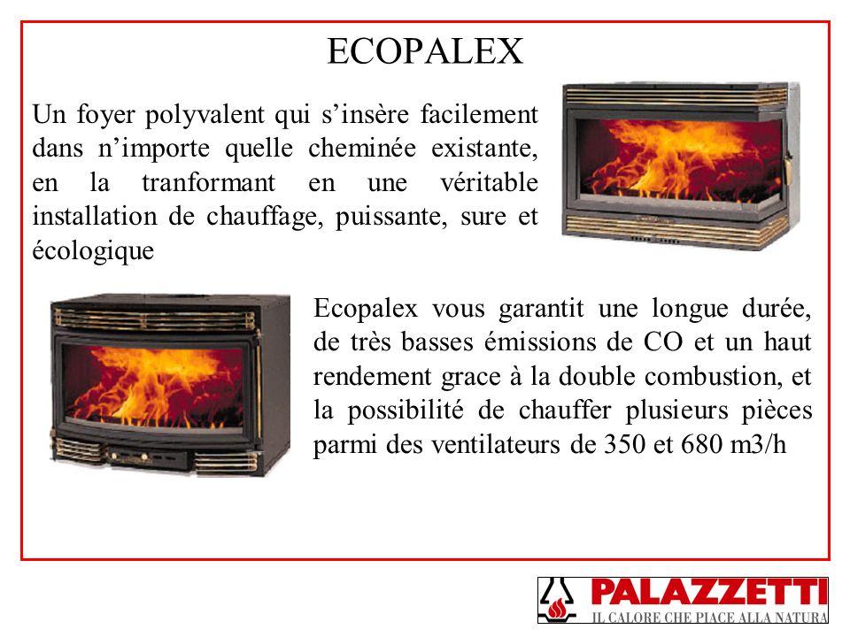 ECOPALEX Un foyer polyvalent qui sinsère facilement dans nimporte quelle cheminée existante, en la tranformant en une véritable installation de chauff