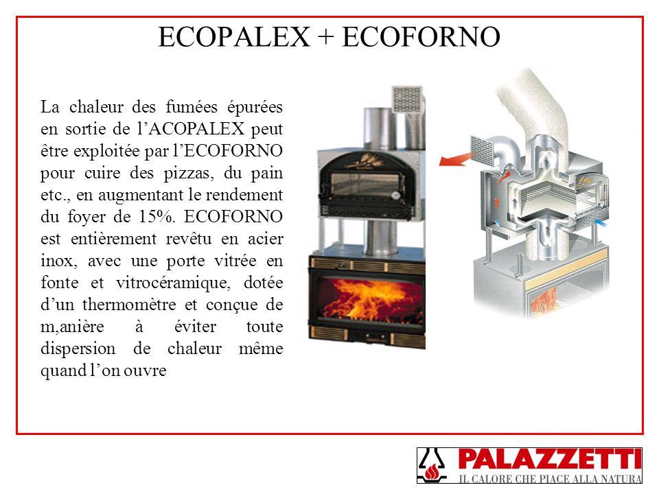 ECOPALEX + ECOFORNO La chaleur des fumées épurées en sortie de lACOPALEX peut être exploitée par lECOFORNO pour cuire des pizzas, du pain etc., en aug