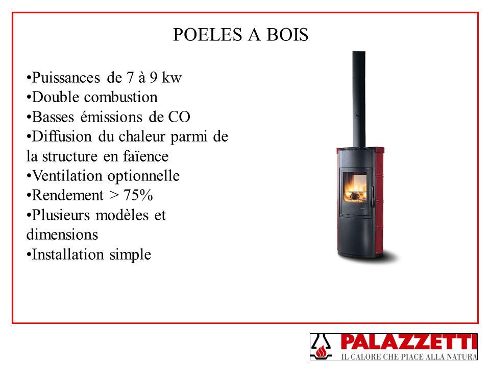 POELES A BOIS Puissances de 7 à 9 kw Double combustion Basses émissions de CO Diffusion du chaleur parmi de la structure en faïence Ventilation option