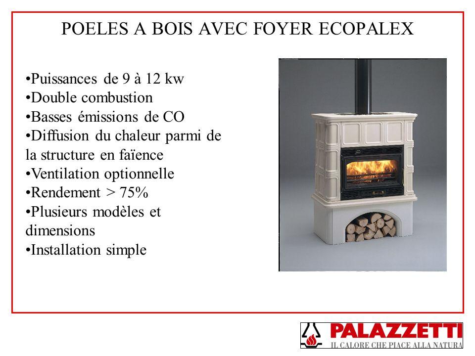 POELES A BOIS AVEC FOYER ECOPALEX Puissances de 9 à 12 kw Double combustion Basses émissions de CO Diffusion du chaleur parmi de la structure en faïen