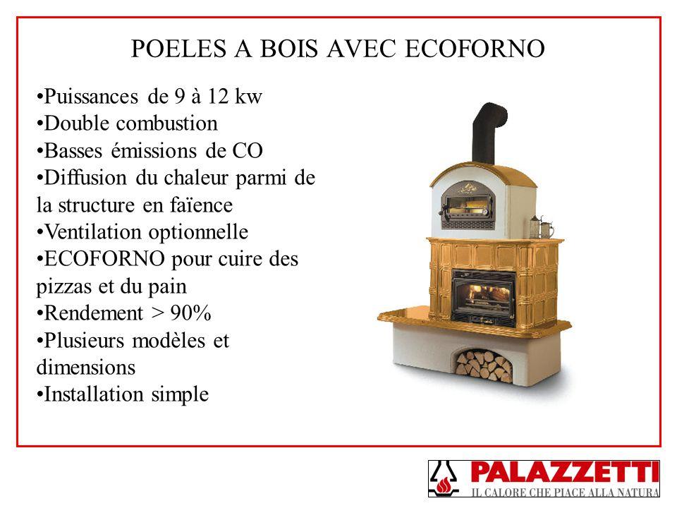 POELES A BOIS AVEC ECOFORNO Puissances de 9 à 12 kw Double combustion Basses émissions de CO Diffusion du chaleur parmi de la structure en faïence Ven