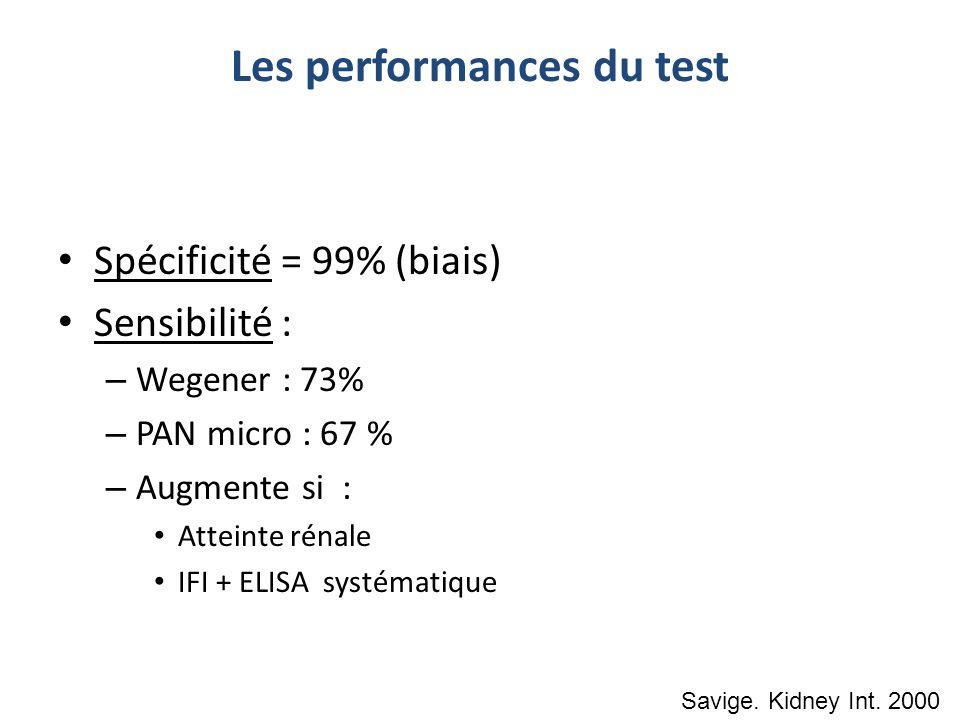 Les performances du test Spécificité = 99% (biais) Sensibilité : – Wegener : 73% – PAN micro : 67 % – Augmente si : Atteinte rénale IFI + ELISA systém