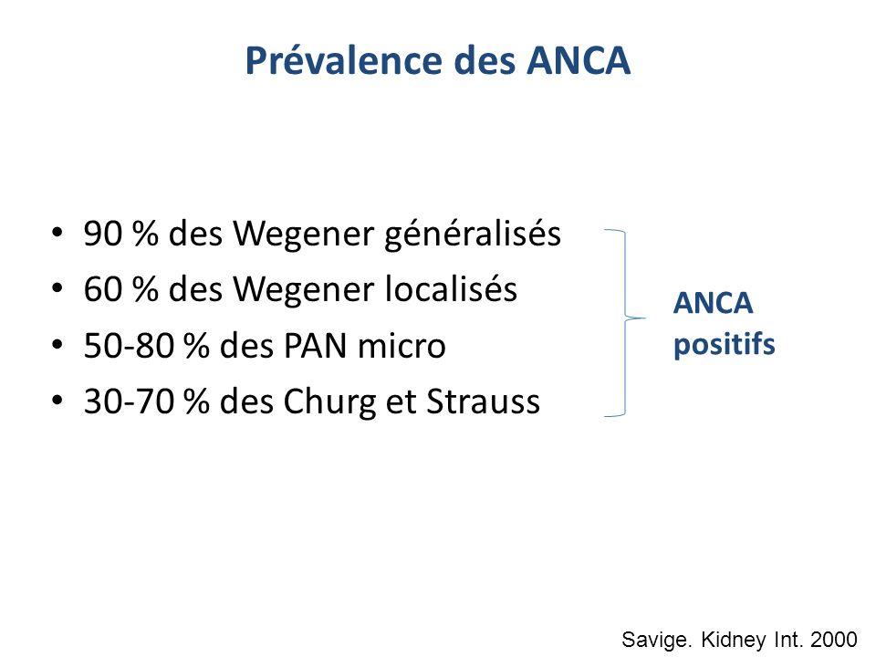 Prévalence des ANCA 90 % des Wegener généralisés 60 % des Wegener localisés 50-80 % des PAN micro 30-70 % des Churg et Strauss ANCA positifs Savige. K
