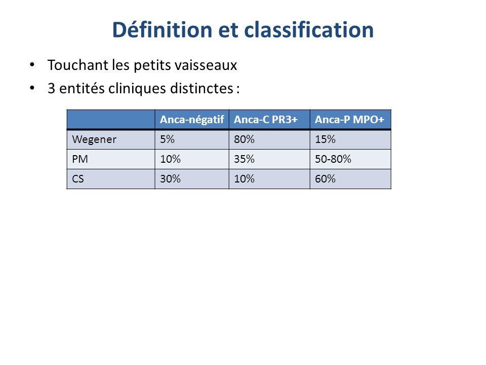 Touchant les petits vaisseaux 3 entités cliniques distinctes : Anca-négatifAnca-C PR3+Anca-P MPO+ Wegener5%80%15% PM10%35%50-80% CS30%10%60%