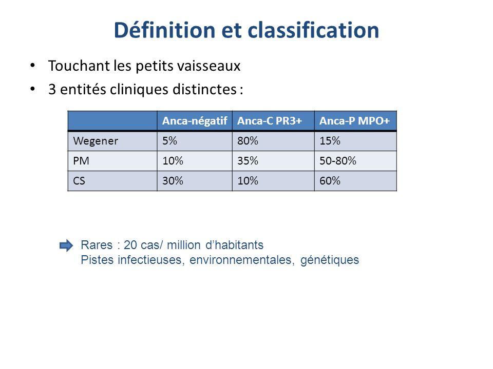 Définition et classification Touchant les petits vaisseaux 3 entités cliniques distinctes : Anca-négatifAnca-C PR3+Anca-P MPO+ Wegener5%80%15% PM10%35